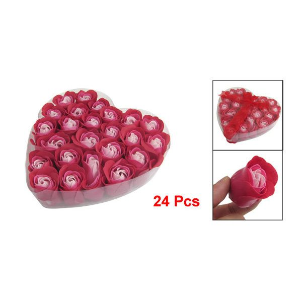 Hot Sale 24 Pcs Practical Red Scented Bath Soap Rose Flavor Petal in Heart Box