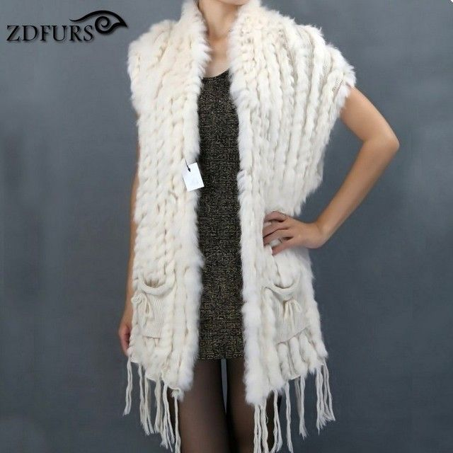 ZDFURS * Hot sale fashion fur shawl knitted rabbit fur shawl with pocket rabbit fur sweater vest poncho wholesale ZDKR-165004