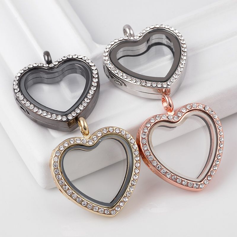 Fashion 30mm 5pcs Rhinestone Heart Floating Memory Locket Necklace Round Living Magnetic Glass Lockets Without Chain Wholesale