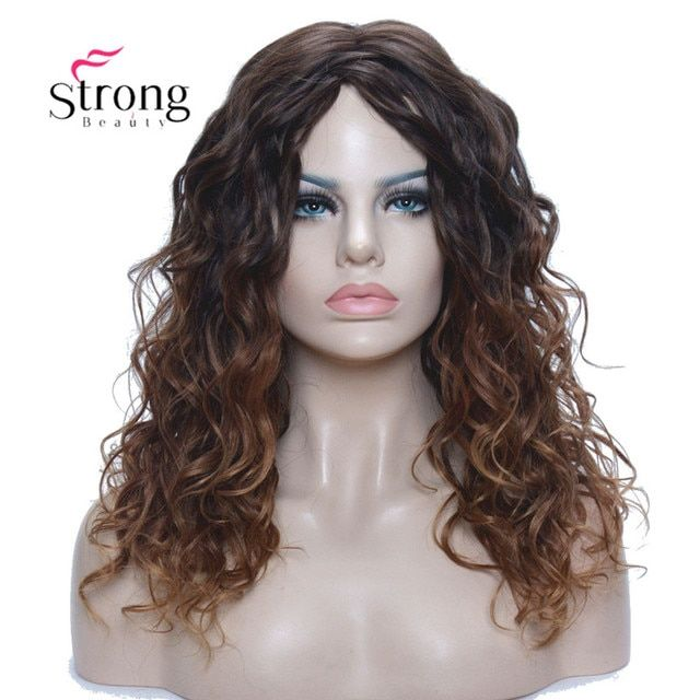 Medium length Kinky Brown Ombre High Heat Resistant Full Synthetic Wig
