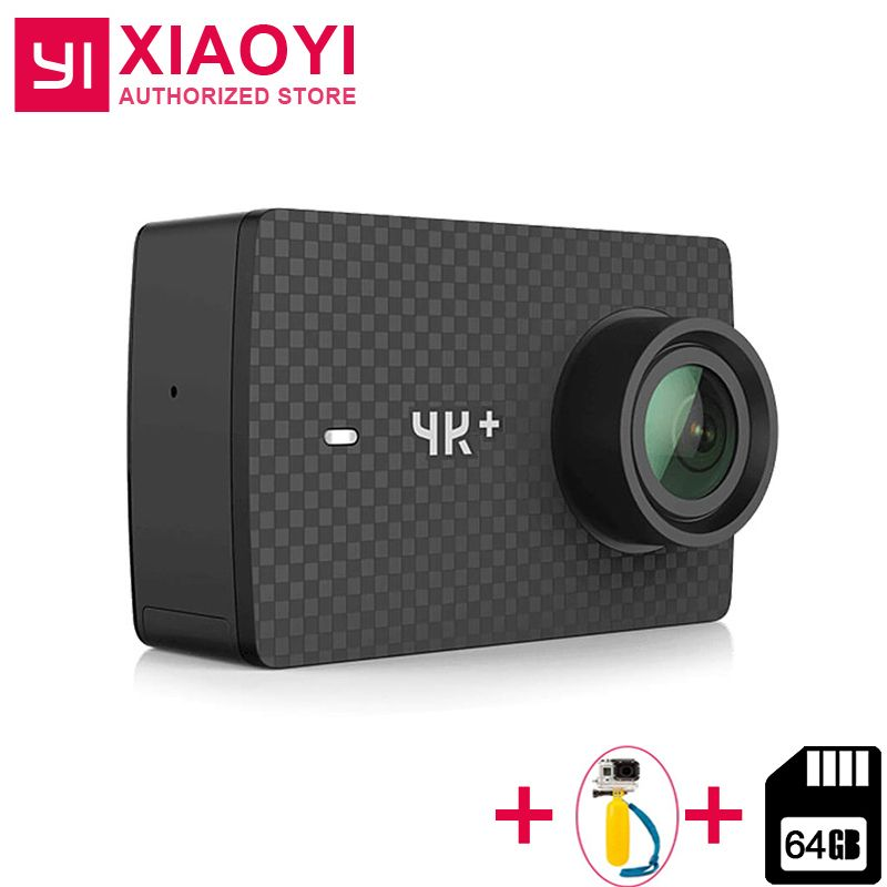 "International Xiaomi YI 4K Plus Action Camera 12MP 2.19"" RAW 155 Degree Ambarella H2 4K/60fps + Case +Selfiestick+64GB SD Card"