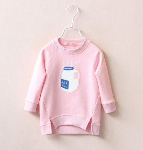 hot! 2017 new girls t shirt  Milk bottle design kids baby hoodies sweatshirt children's wear china base   winter