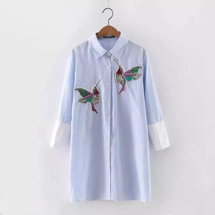 Women fashion turn down collar long sleeves blouses lady bird embroidered mid-long shirt tops LBCH8252-0428