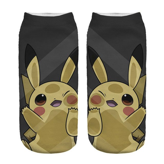 Cute Novelty Art 3D Printed Anime Luck Pikachu Funny Women Low Waist Ankle Socks Cheap Cotton Pokemon Cartoon Warm Socks Slipper