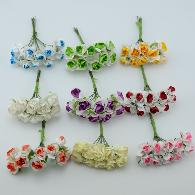 10pcs artificial small paper rose flowers DIY handmade clothes hat decorative flower wreath