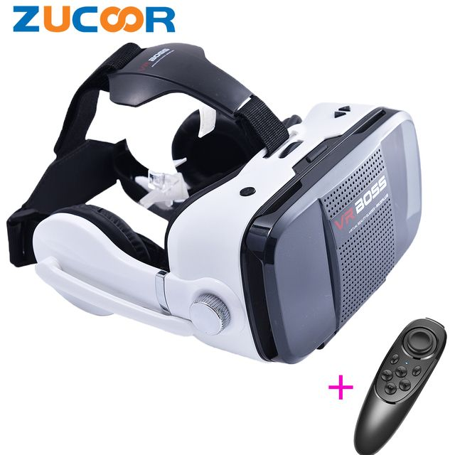 High quality Google Cardboard VR Boss 3D Game Video Glasses virtual reality Box Headphones for Smartphones Headmount Helmet Case