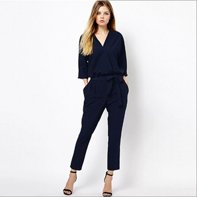 Women Jumpsuits Elegant Bodysuit Half Sleeve V Neck Romper Fashion Lady Playsuit Romper Overalls Rompers Womens Jumpsuit RY0412