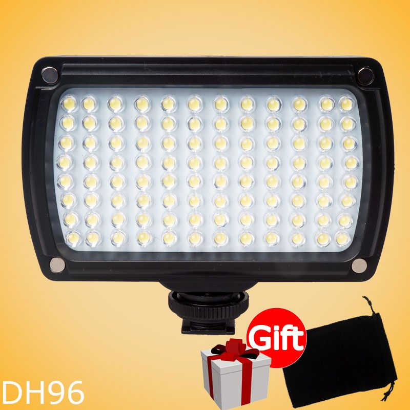 96 LED Dimmable Video Light Lamp   3200K and 5500K on Camera Video Hotshoe LED Light for Canon Nikon DV Camcorder DSLR Wedding