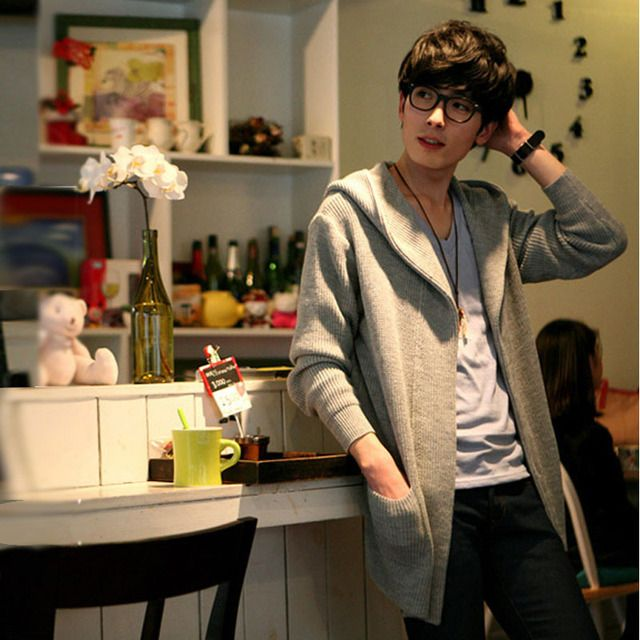 spring 2016 new Korean men's slim knit hooded cardigan young men's coat outwear jackets