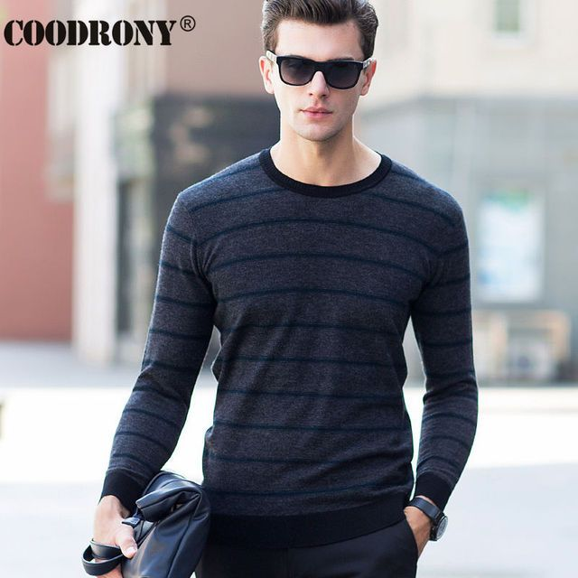 Free Shipping Christmas Merino Wool Sweater Men Brand-Clothing Knitted Cashmere Sweaters Casual Striped O-Neck Pullover Men 6320