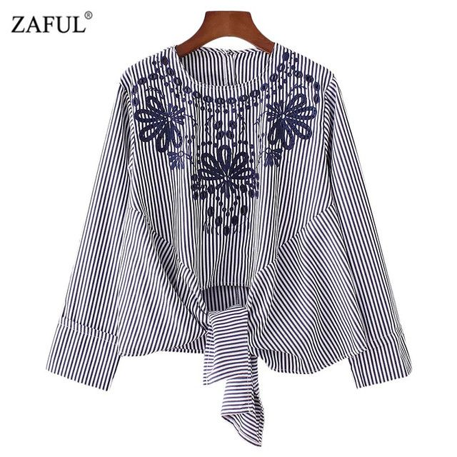 ZAFUL Women Knotted Embroidered Striped Blouse O-Neck Top Shirt Blouse Long Sleeve Blouse Blusas Women Clothing Casual Tops