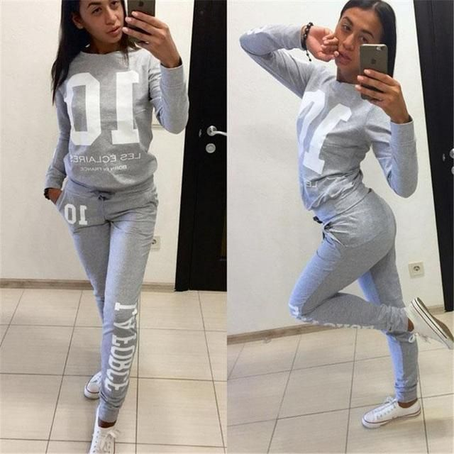 2016 New Autumn Winter 10 Printed Two Pieces Set Tracksuit For Women Pant And Sweatsuits Long Sleeve Hoodies sudaderas chandal