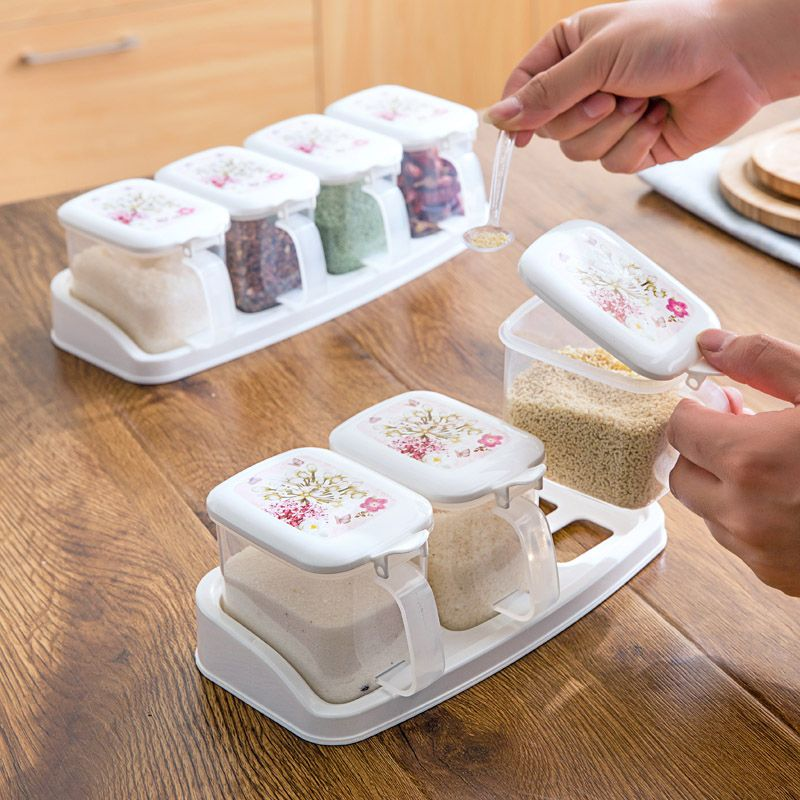 Fashion Seasoning Box Pepper Salt Plastic Plastic Jar Kitchen Storage Containers Storage Box Bottles Kitchen Accessories