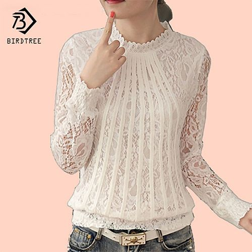 Plus size 4XL Lace Chiffon Women Blouse Shirt Korean Sweet Style Long Sleeve Pullover Hallow out Stand Tops for Women C68277H