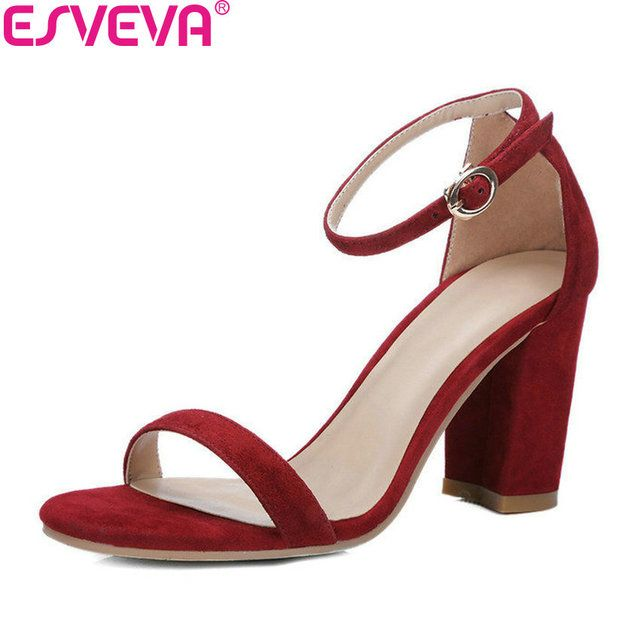 ESVEVA 2018 Women Sandals Concise Summer Peep Toe Sandals Square High Heel Sandals Genuine Leather Shoes Ladies Shoes Size 34-39