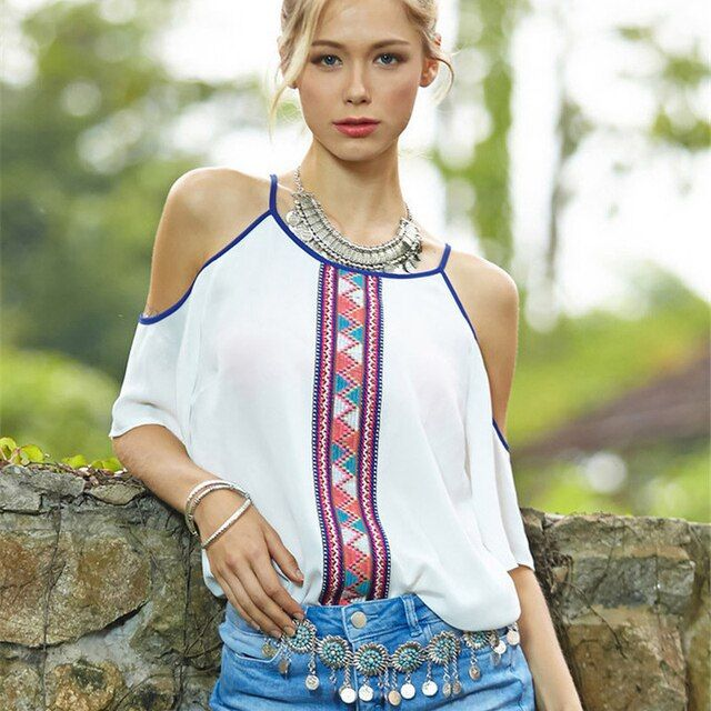 Women Blouses 2016 White Chiffon Tribal Print Blouse Ladies Bohemian Off Shoulder Shirts Tops Blusas Feminina Camisas