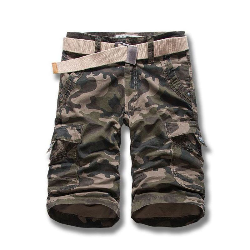 Mens Camouflage Capri short Army Green Color Casual Cropped Cargo Shorts new design  Summer Fashion Loose Fit Size 28-38
