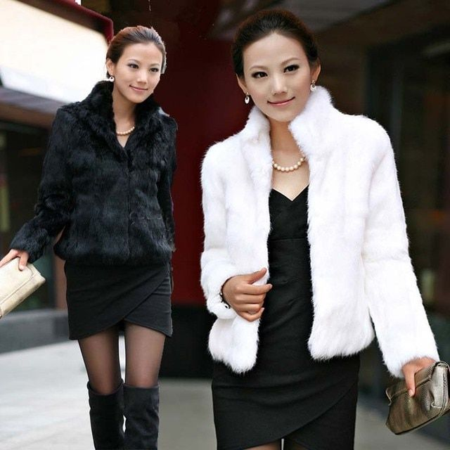 1 Piece Elegant Women Fur Coat Fashion Clothing Luxury High Quality Fake Fur Pure Color Long Sleeve Stand Collar Winter Coat