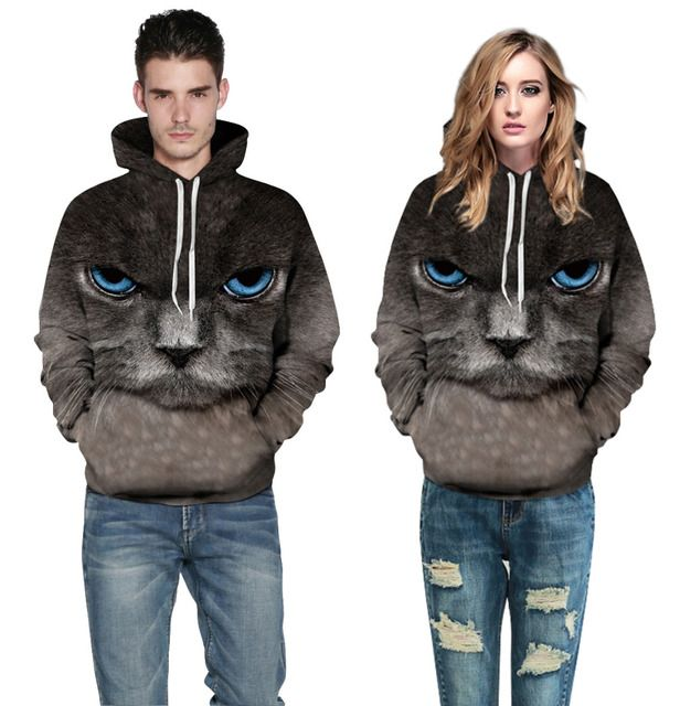 2016 New Hoodies Women Anti-hair Adventure Time Sweatshirt Cat True High-definition 3D Printing Large Size Baseball