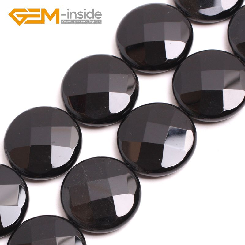 30mm faceted black Agat e beads natural stone beads loose bead for jewelry making strand 15 inches DIY !