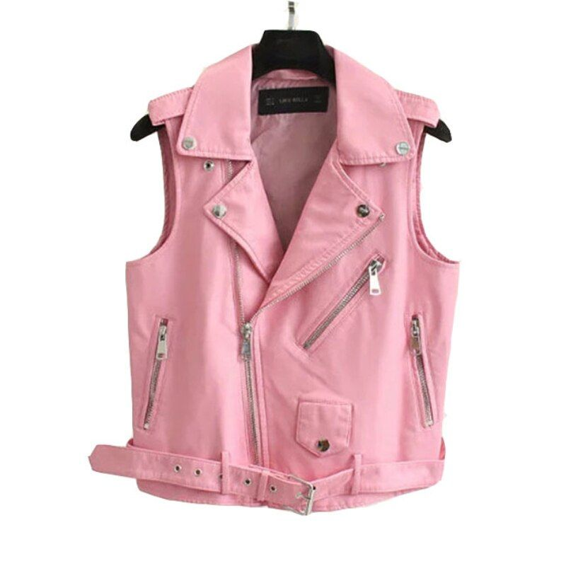 2018 Fashion Leather Vest Womens Sleeveless Leather jacket Turn-Down Collar Pockets  PU vest Waistcoat leather coat Top VE010