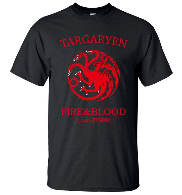 Targaryen Fire & Blood Game of Thrones Men T Shirts 2017 Summer T-Shirt 100% Cotton High Quality Top Tees S-3XL Camisetas Hombre