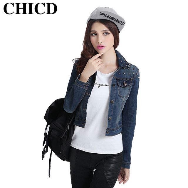 CHICD 2017 Autumn Fashion Women's Denim Jacket Casual Vintage Slim Rivet Pocket Short Jackets Female Jeans Outwear Coat XC193