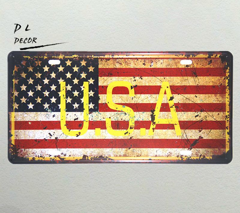 DL-USA MAP License plate VINTAGE RETRO METAL WALL SIGN PLAQUE PICTURE CAR GARAGE