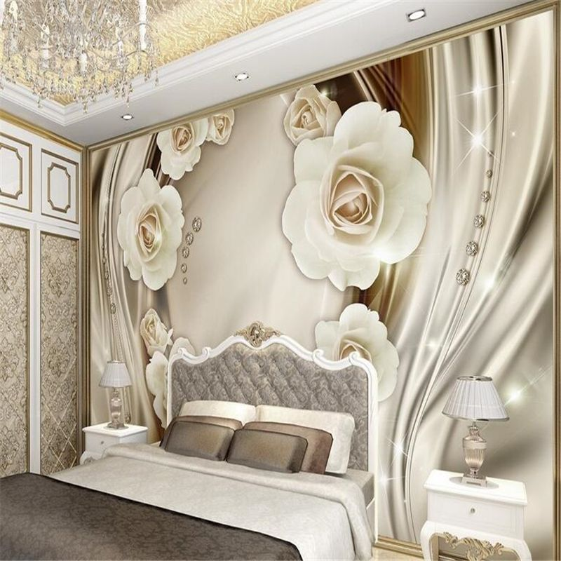 beibehang Custom photo wallpaper wall stickers large fresco luxury golden 3d roses silk TV backdrop papel de parede wall paper