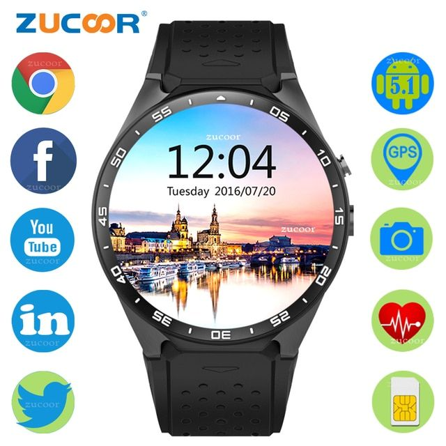 3G Smart Watch GPS WiFi Wristwatch Mp3 Player Heart Rate Monitor Fitness Tracker Pedometer Bluetooth Waterproof PK KW18 GT88 Q18
