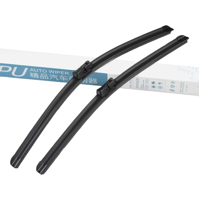 "Moonet 2pcs/lot Frameless Wiper blades for Skoda Fabia (2008-2012) 21""+21"" fit push button type wiper arms  QY291"