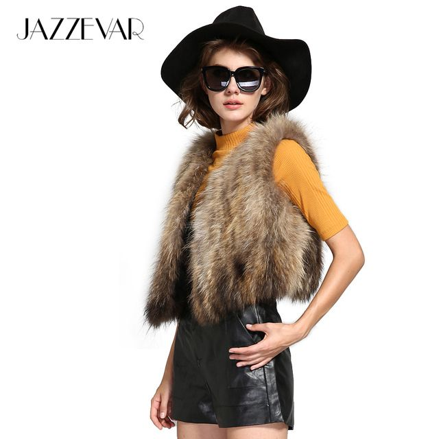 2016 new fashion street women's real raccoon fur short vest patchwork fur small winter jacket