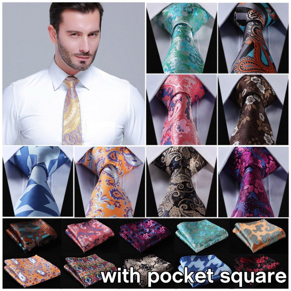 "Dot 3.4"" 100%Silk Wedding Jacquard Woven Men Tie Necktie Pocket Square Handkerchief Set Suit EFD"