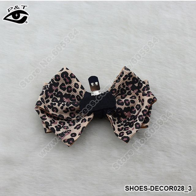 1pair/lot Loepard Shoe Decor Clips Bow Clip for Wedding Shoes Hair Jewery 8.8x6CM Free Shipping