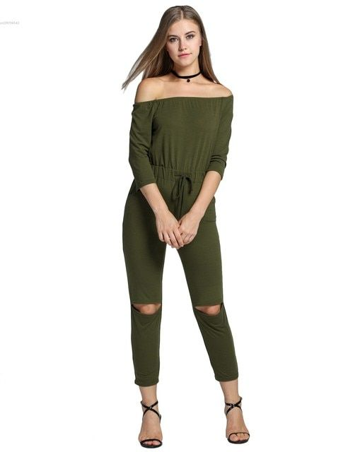 Fashion Women's  Jumpsuit Off Shoulder 3/4 Sleeve Pocket Solid Color Slim Open Knee Casual Clubwear Slim Female  Rompers