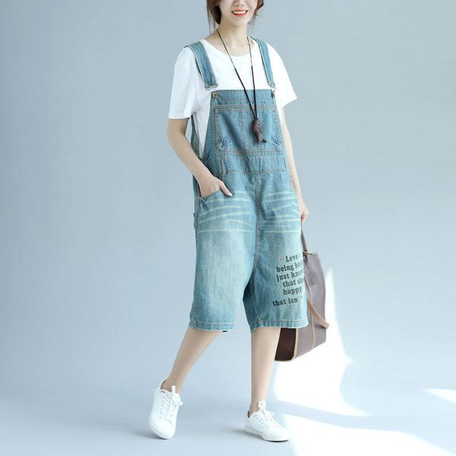 Women Casual Knee Length Jeans Ladies Denim Overalls Denim Letter Print Bleached Patchwork Jumpsuits