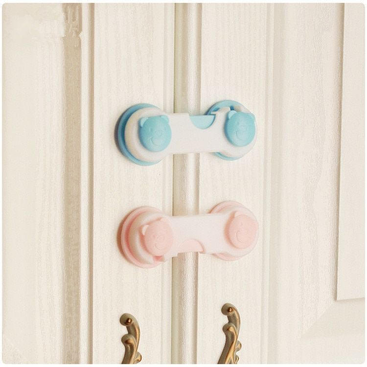10 Pieces/Pack Bear Head Design Baby Security Cabinet Lock And Strap Children Safety Fridge Antipinch Lock Kids Hands Protector
