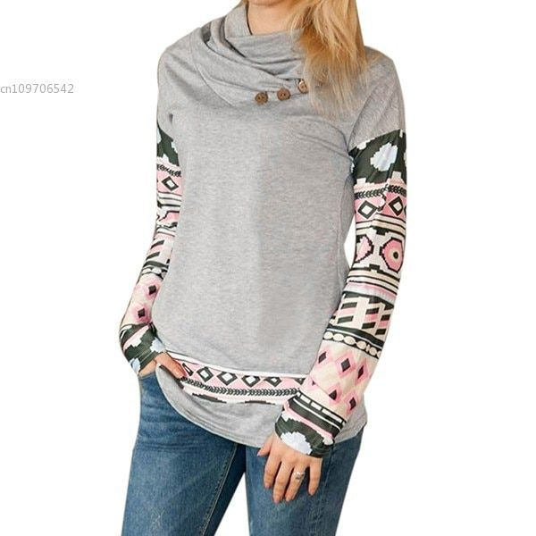 New Women Cowl Neck Long Sleeve Print Patchwork Button Pullover Fashion Sweatshirt
