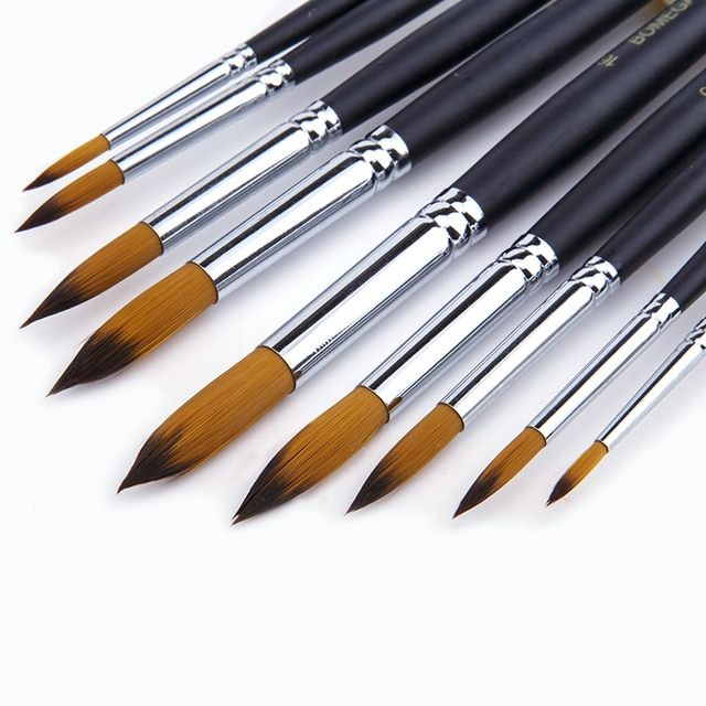 9Pcs/set Pointed Paintbrush Watercolor Nylon Hair  Artists Paint Brush Set Art Supplies