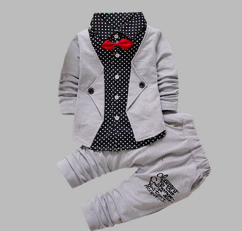 Spring Autumn Baby Boys Casual Long-sleeved Cotton Clothing Set Baby & Kids Fashion Plaid Jacket+Pant 2-piece Clothing Sets