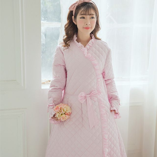 Winter Robe Sleepwear Women Warm Robe Thickening Robe Long Nightgown Princess Sleepwear Robe 100%Cotton-padded High quality