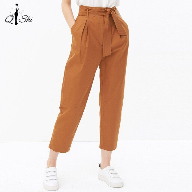New Women Pants Solid Color Drawstring Ankle-Length Pants Breif Double Pockets Casual Lady Pants Nice Straight Waist Tie Pants