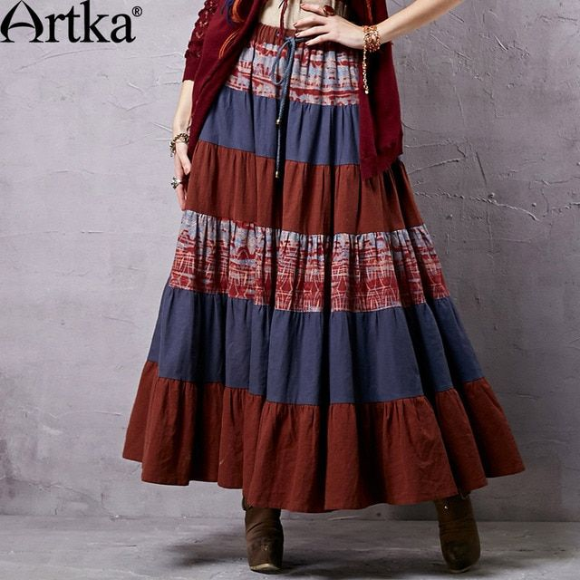 Artka Women's 2015 Summer New Bohemian Style Vintage Shirred Printed Stitched Skirt Cotton All-Match Skirt QA14152C
