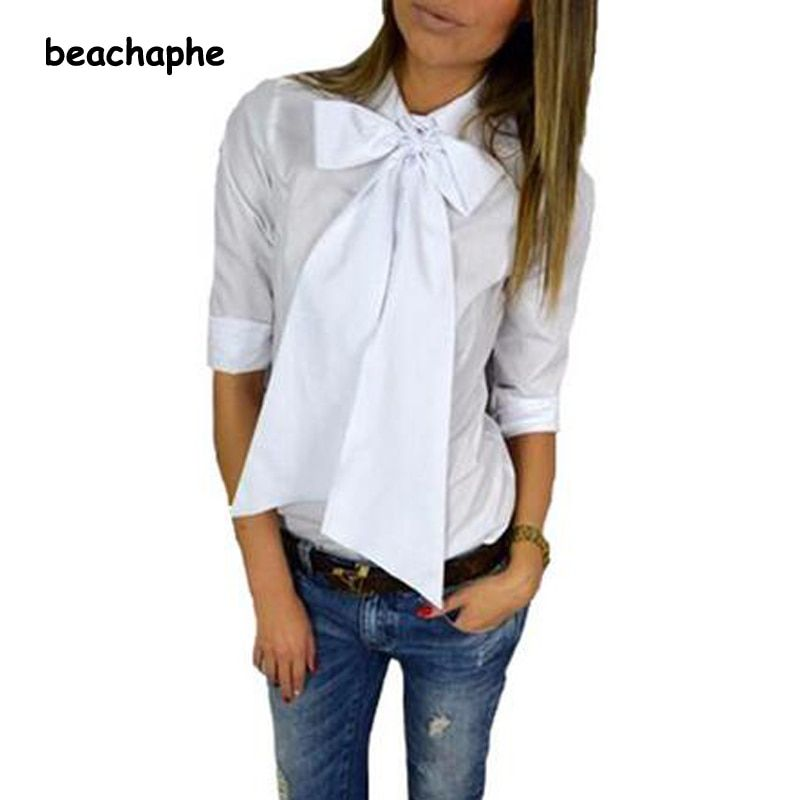 Women Fashion OL Bow Style Shirt Long Sleeve Turn-down Collar Button Blouse Tops