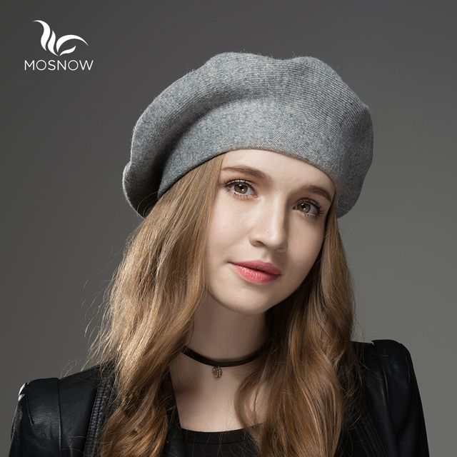 MOSNOW Winter Hat Berets 2018 New Wool Cashmere  Womens Warm Brand Casual High Quality Women's Vogue Knitted  Hats For Girls Cap