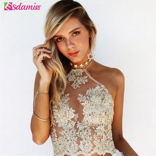New Elegant Floral Embroidery Lace Crop Top Sexy Gauze Metallic Backless Halter Top Beach Women Tank Top Deportivos Mujer