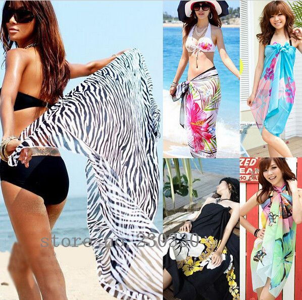 Scarves Sexy Chiffon Summer Swimwear Dress Beach Cover Up Pareo Sarongs Bikini Scarf  Tunic Wraps 20pcs/lot