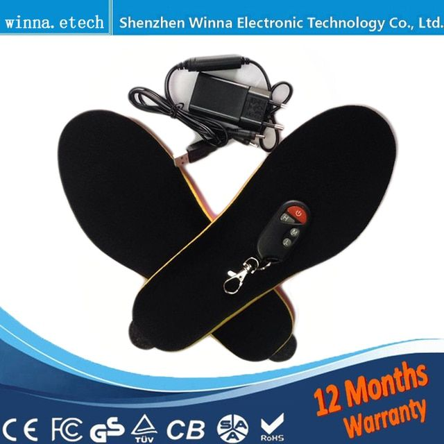 Electronic Heating Insoles soles with Wireless Remote Control Winter women Shoes Boots Pad  black Size 35-40 # 1800 mah
