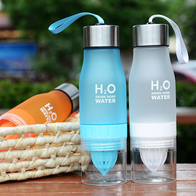 650ml New Lemon Water Bottle Multi-color H2O Drink More Water Brief Creative Plastic Bottle For Outdoor Sporting Hiking Camping