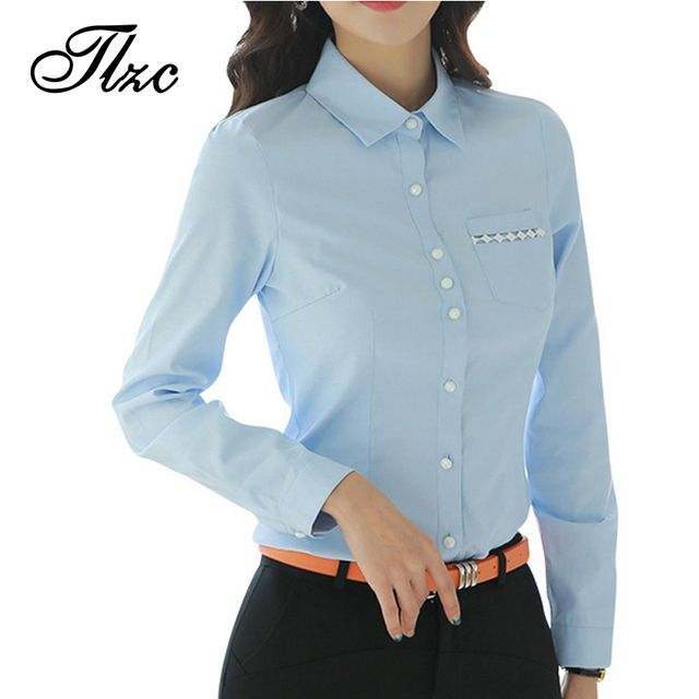TLZC New Arrival Women Tops Blue Color Lady Cotton Shirts 2017 Solid Style Lady Formal Shirts Office Lady Blouse Size S-3XL